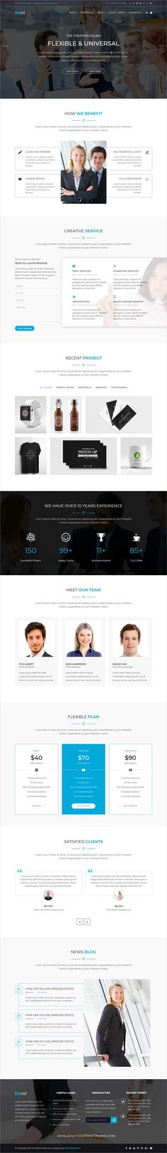 Excel is clean and modern design 4in1 #responsive HTML5 Bootstrap #template for #business consultant and financial agency website to live preview & download click on Visit