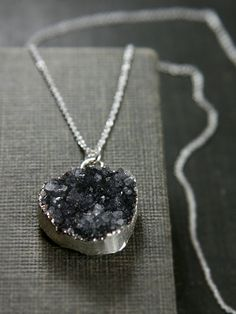Midnight Blue Drusy Necklace, Sterling Silver 18 Inch Chain Druzy Pendant - Modern Crystals. $75.00, via Etsy.