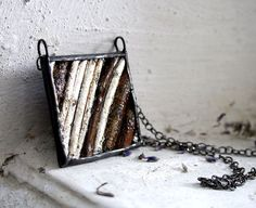 Silver Wood Necklace Statement Necklace Autumn by WoodArtThings, $38.00