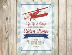 Vintage Airplane Birthday Invitation By EmmyJosParties On Etsy. Airplane  Baby ShowerAirplane ...
