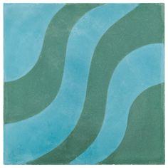 "ANN SACKS Eastern Promise by @Martyn Lawrence Bullard 7-7/8"" x 7-7/8"" aladdin a concrete field in azure and emerald"