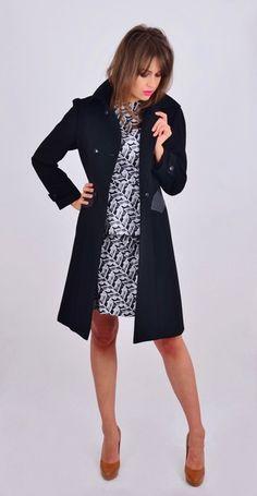Stylowy czarny płaszcz wełniany w NAT Fashion Room na DaWanda.com