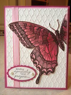Swallowtail, Petite Pairs, Fancy Fan embossing folder - Catherine Loves Stamps