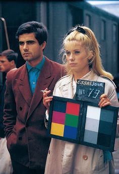 On set still for Les parapluies de Cherbourg, Jacques Demy, 1964