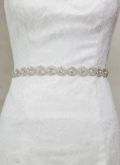 [US$ 13.99] Beautiful Satin Sash With Rhinestones (015080154)