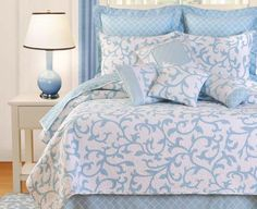 Serendipity Blue Bedding is a beautiful modern bedding collection featuring a soft blue motif on a white matelasse background. Perfect for adding style and elegance to your bedroom decor.     Available at Atlantic Linens as a Deluxe or Standard Bedding Set or individual bedding accessories.