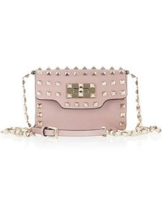 50 Dream Handbags: Valentino Studded mini leather shoulder bag, $1,795 -- delicate color toughened up with gold studs. Perfect. #scoresense