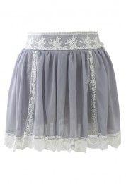 Lace Trimmed Grey Chiffon Mini Skirt