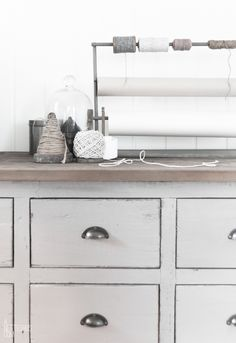 workroom love with vintage dresser drawers