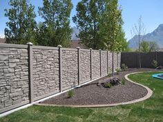 Fabulous Stone Fence Design Ideas For Front Yard Stone Fence, Brick Fence, Front Yard Fence, Concrete Fence Panels, Fence Landscaping, Backyard Fences, Garden Fencing, Pool Fence, Bamboo Fence