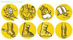 Instructional-style illustrations describing avalanche air bags and common ski boot fitting problems. Technical Illustration, Simple Illustration, Digital Illustration, Buyers Guide, Pictogram, Data Visualization, Media Design, Presentation Design, Illustrators