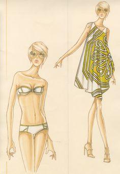 I like the dress thing! ~ Design & Illustration by Stanley Do for Trina Turk Illustration Mode, Fashion Illustration Vintage, Fashion Illustrations, Fashion Design Template, Fashion Templates, Fashion Art, Spring Fashion, Girl Fashion, Jolie Lingerie