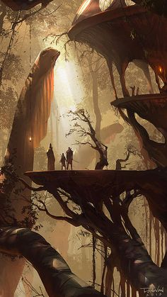 Art of Donovan Valdes #art #concept #illustration #fantasy #dinosaur #elves #treehouse #trees