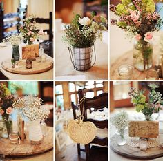 Muslin or Burlap table cloth with a Wooden platform Centerpiece!