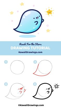 How to draw adorable kawaii ghost with easy step-b Easy Cartoon Drawings, Cute Easy Drawings, Art Drawings For Kids, Cute Kawaii Drawings, Cute Animal Drawings, Doodle Drawings, Ghost Drawing, Smile Drawing, Doodle Art For Beginners