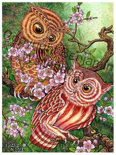 Owls in Spring by artist Ben There