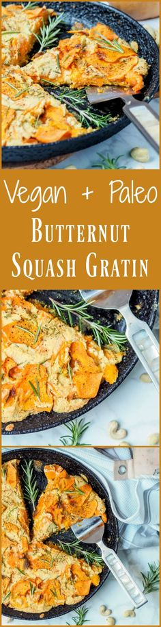 Super creamy and comforting vegan + paleo butternut squash gratin with rosemary cashew cream is the perfect meatless entree or side dish for a fall themed dinner party. Gluten Free. Even your most die hard cheese loving guests will be impressed with this vegan recipe! | avocadopesto.com