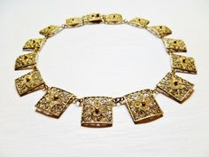 Vermeil Gold Filigree Necklace Cannetille by IfindUseekVintage, $70.00