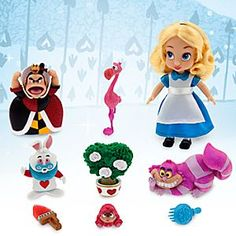 Disney Animators' Collection Alice Mini Doll Play Set - 5'' | Disney Store Carry along the classics with Alice's Mini Doll Play Set. Inspired by our Disney Animators' Collection dolls, set includes five fanciful Wonderland figurines and comes in a curiously clear snap case.