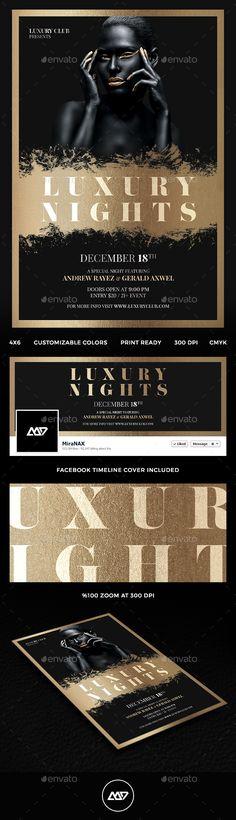 Luxury Nights Flyer Template PSD #design Download: http://graphicriver.net/item/luxury-nights-flyer/13544318?ref=ksioks