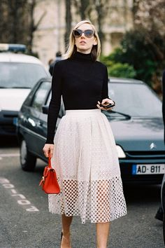 white skirt with turtleneck top