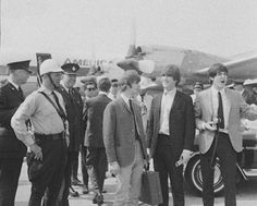 The Beatles at the Malton airport in Toronto, back in 1964.