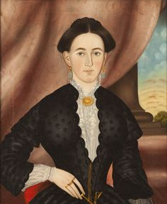 A Shared Legacy: Folk Art in America   American Folk Art MuseumEmily Avesta Bisco Lamb Attributed to Daniel G. Lamont (1818–1883) Webster, Massachusetts c. 1852 Oil on canvas 28 1/2 x 23 1/4″ Barbara L. Gordon Collection Photo courtesy of the Barbara L. Gordon Collection