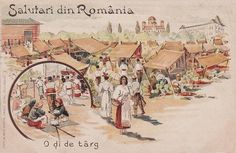 O zi la targ anii 1900 Romania, Postcards, Vintage World Maps, Country, Pictures, Beauty, Photos, Rural Area, Cosmetology