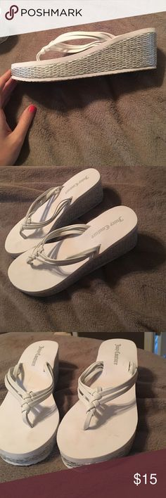 Wedged sandals. White and silver wedges flip flops Juicy Couture Shoes Sandals