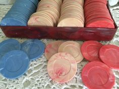Vintage 100 Poker Chips Plastic Bakelite Catalin Swirled Marbled Unique | eBay