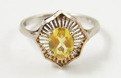 Cocktail Ring Vintage Sterling Silver Citrine by ThePickingPair, $65.00