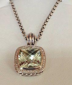 "DAVID YURMAN STERLING SILVER 14mm PRASIOLITE & DIAMOND ENHANCER & 18"" BOX CHAIN #DavidYurman #Chain"