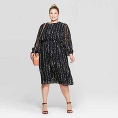 Plus Size Floral Print Long Sleeve Crewneck Smocked Waist Midi Dress - Ava & Viv - Black