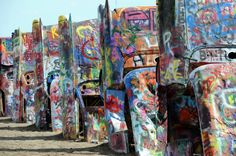 Cadillac RanchHistoric Route 66 Stanley Marsh Helium Millionaire I-40 Graffiti Spray Paint Highway Sculpture Roadside America Art