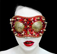 An avant-garde mask & ruby red lips | A Joji Kojima accessory ~ he is my inspiration for my new career change...let the fashion and graphic design begin