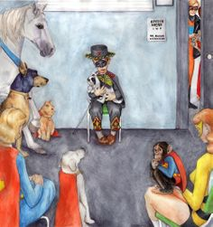 "At the Super-Vet by crossstreet - ""Latest Rockwell parody painting, featuring Comet the Superhorse, Streaky the Supercat, Ace the Bathound, Supergirl, Krypto, Beppo the Supermonkey, the Insect Queen, Animalman, Hoppy the Marvel Bunny, Mary Marvel, and a young boy trying to keep up a brave appearance by dressing up like Zorro"""