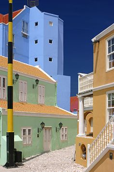 All the buildings have beautiful pastel shades in Curacao.