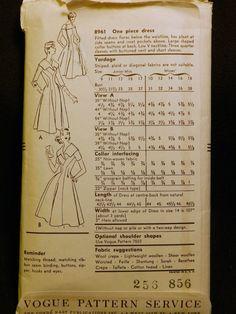 Vintage1956 Vogue pattern no. 8961 Flared Dress (back of envelope)