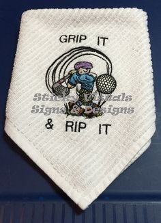 Embroidered Golf Towel Color White New Custom Embroidered Embroidery is a  Swinging Golfer with the saying