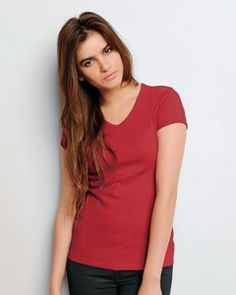 Buy 1005 Ladies' 1x1 Baby Rib Short-Sleeve V-Neck T-Shirt at just $6.77 right away
