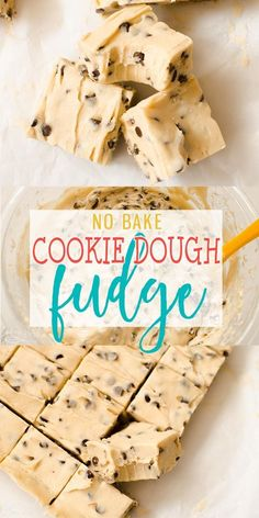 Cookie Dough Fudge is a cross between chocolate chip cookie dough and delicious,., Desserts, Cookie Dough Fudge is a cross between chocolate chip cookie dough and delicious, creamy fudge! This no bake treat comes together quickly and will sati. Fun Baking Recipes, Fudge Recipes, Sweet Recipes, Cookie Recipes, Easy Desert Recipes, Candy Recipes, Baking Ideas, Kids Baking, Duck Recipes