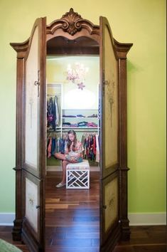 The New Luxury Kids Rooms— Faux armoire entrance into teen& closet a la the Lion Witch and Wardrobe. So creative. Teen Closet, Wardrobe Closet, Closet Doors, Narnia Wardrobe, Wardrobe Doors, Bedroom Wardrobe, Wardrobe Ideas, Closet Ideas, Playroom Closet
