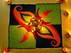 Indian rangoli art during Diwali celebrations