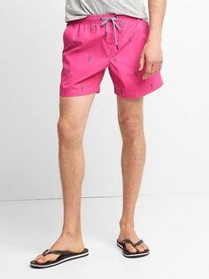 """Gap Mens Print Drawcord Swim Trunks (5"""") Hot Pink"""