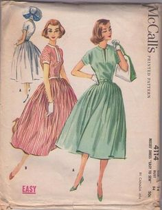 MOMSPatterns Vintage Sewing Patterns - McCall's 4114 Vintage 50's Sewing Pattern BEAUTIFUL Full Flared Pleated Skirt Slit Neck Rockabilly Co...
