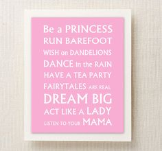 Personalized Girl Nursery Printable Wall Art - Toddler Baby Girl Rules  - you choose the colors. $4.95, via Etsy.