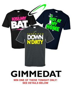 Win one of these GIMMEDAT Fastpitch designs tonight.  Enter our facebook competition at www.facebook.com/gimmedatusa.  Contest ends 10:30pm 3.28.2013.