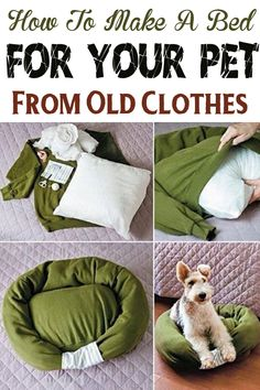 Nothing should be discarded and that all your old things can be reused in a new way! Today we teach you how to make a bed for your pet using your old clothes, whether are sweaters, jeans or skirts . Reuse Old Clothes, Pet Clothes, Pet Beds, Dog Bed, Old Sweatshirt, Diy Stuffed Animals, Dog Care, Puppy Love, Fur Babies