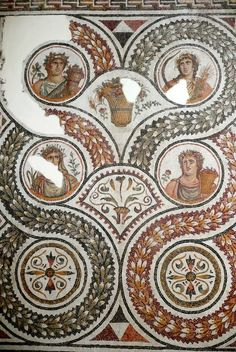 Roman mosaic depicting the Four Seasons, 2nd/3rd cent. AD. Bardo Museum, Tunis, Tunisia