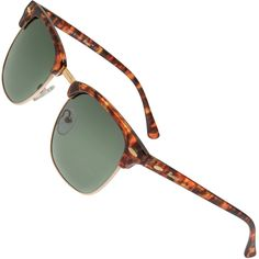 4ff8fc187 Clubmaster Gold & Tortoise Frame / G15 Green - Gray Lens Medium 49mm  Polarized Sunglasses